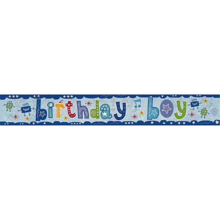Amscan Happy Birthday Banner Holographic Boy 2.7m, , hi-res