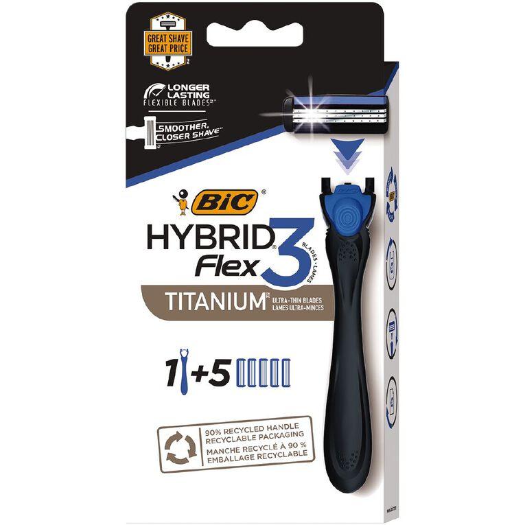 Bic Flex 3 Hybrid Men's 3-Blade Disposable Razor Blue 5 Pack, , hi-res
