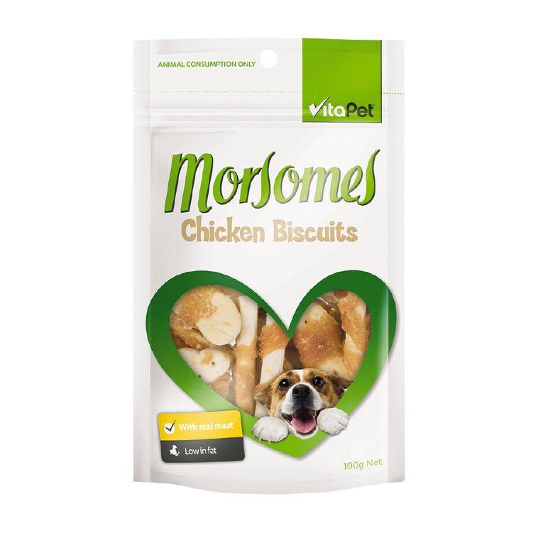 Vitapet Morsomes Chicken Biscuit 100g, , hi-res