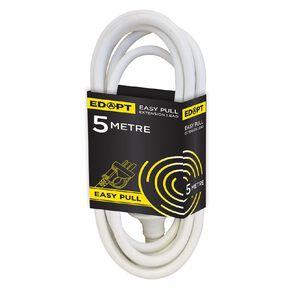 Edapt Easy-Pull Lead Household 5 Metre White 5m