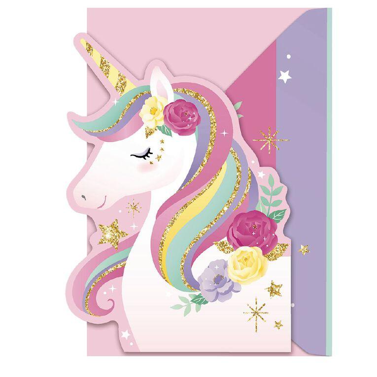 Artwrap Unicorns Invitations 8 Pack, , hi-res