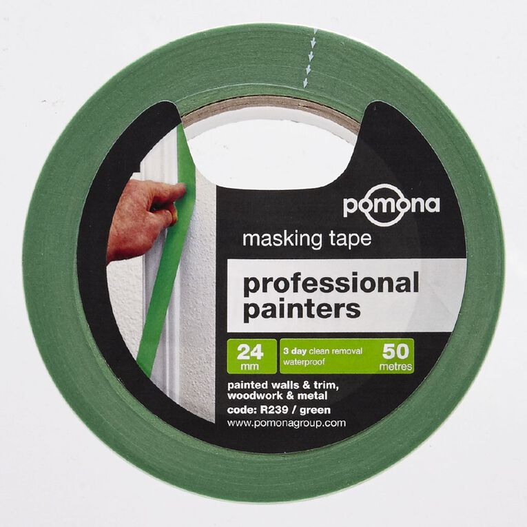 Pomona Masking Tape Professional Painters 3 Day Green 24mm x 50m, , hi-res