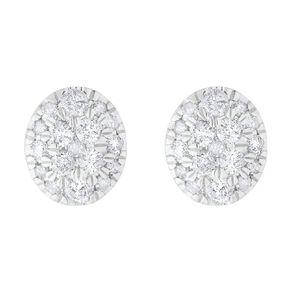0.50 Carat Diamond 9ct Gold Oval Halo Stud Earrings