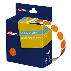 Avery Orange Dispenser Dot Stickers 14mm diameter 1050 Labels