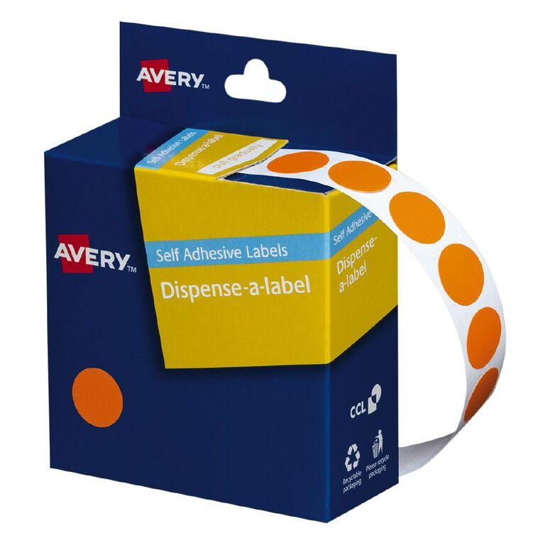 Avery Orange Dispenser Dot Stickers 14mm diameter 1050 Labels, , hi-res