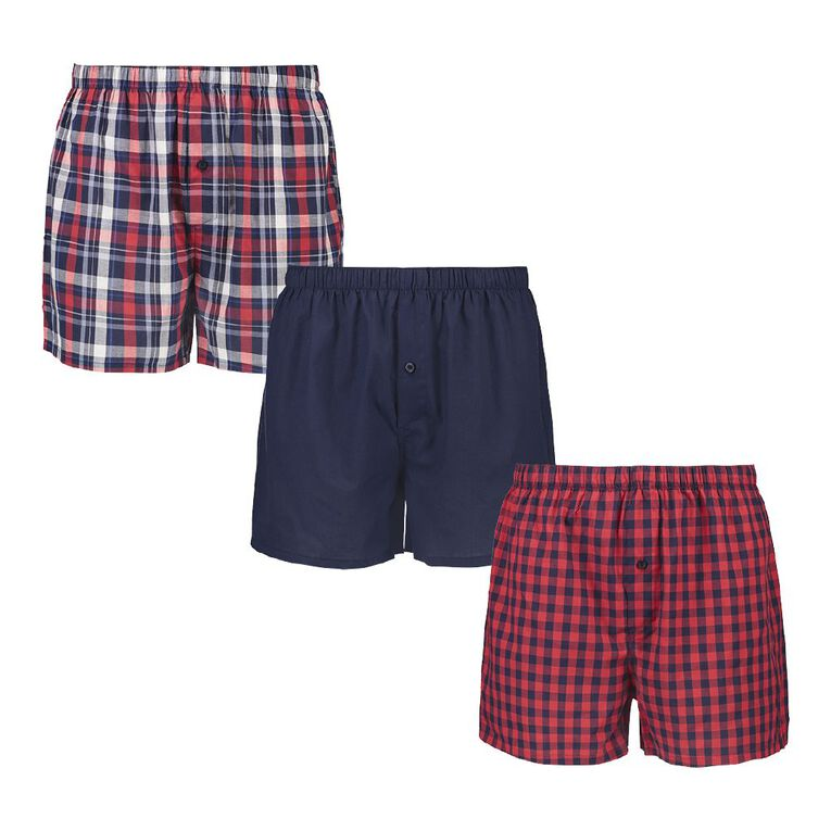 H&H Men's Woven Boxers 3 Pack, Red/Navy, hi-res