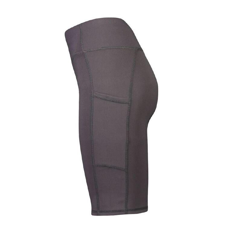 Active Intent Women's Long Length Pocket Bike Shorts, Grey Dark, hi-res
