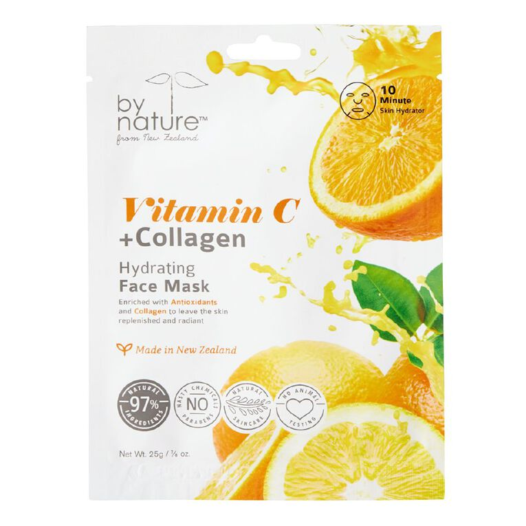 By Nature Vitamin C & Collagen Hydrating Mask 25g, , hi-res