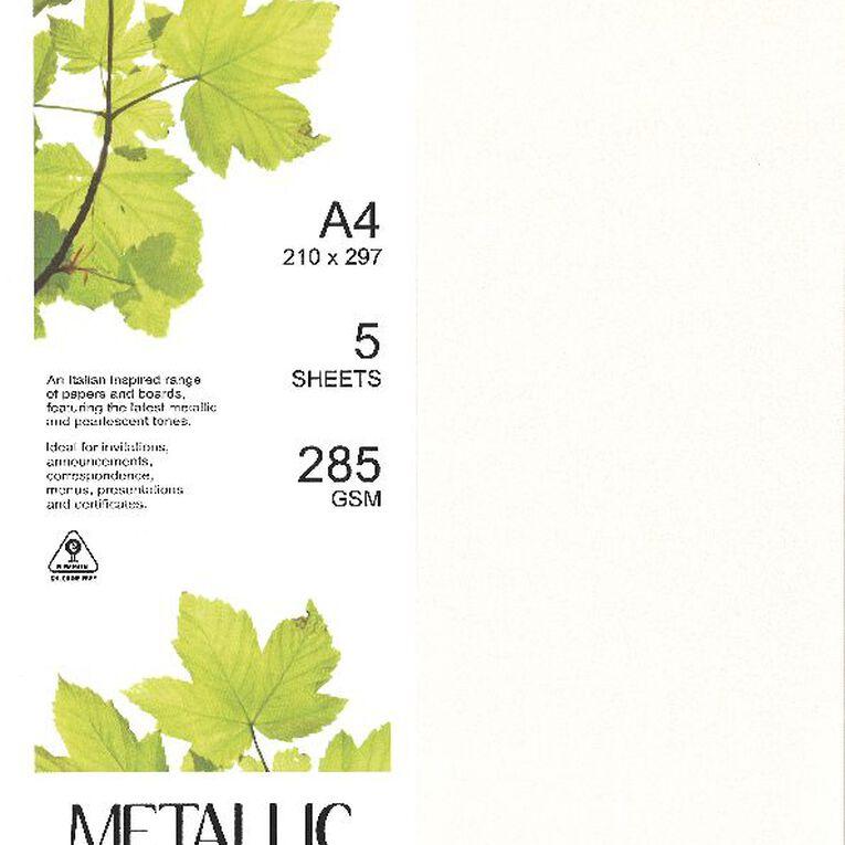 Direct Paper Metallic Board 285gsm 5 Pack Quartz A4, , hi-res