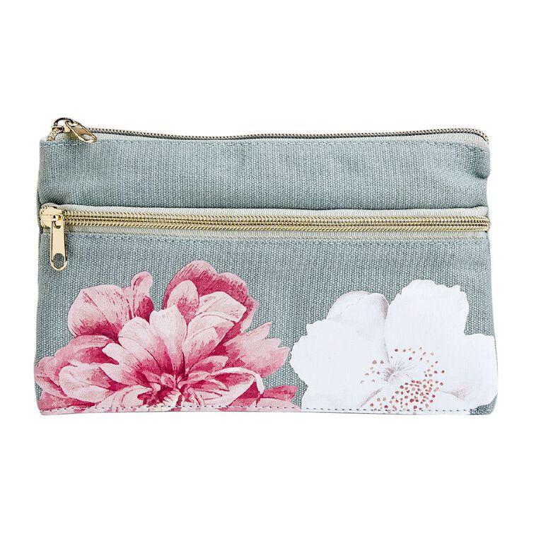 Uniti Kiwi Breeze Pencil Case Two Pocket Floral Pink, , hi-res