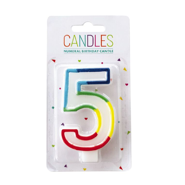 Numeral Candle 5 Rainbow Border 80mm x 10mm White, , hi-res image number null