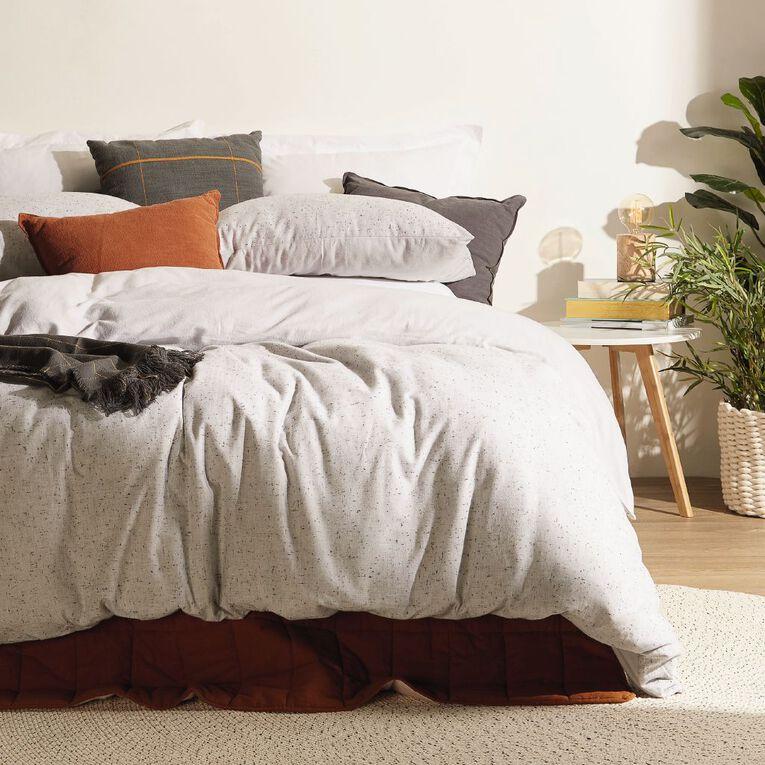 Living & Co Duvet Cover Set Brushed Cotton Marle Light Grey King, Grey, hi-res