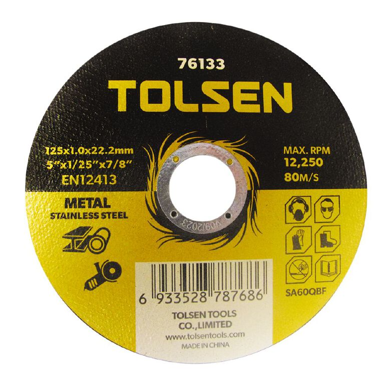 Tolsen Metal Cutting Disc 125x1.0x22mm 10 Pack, , hi-res