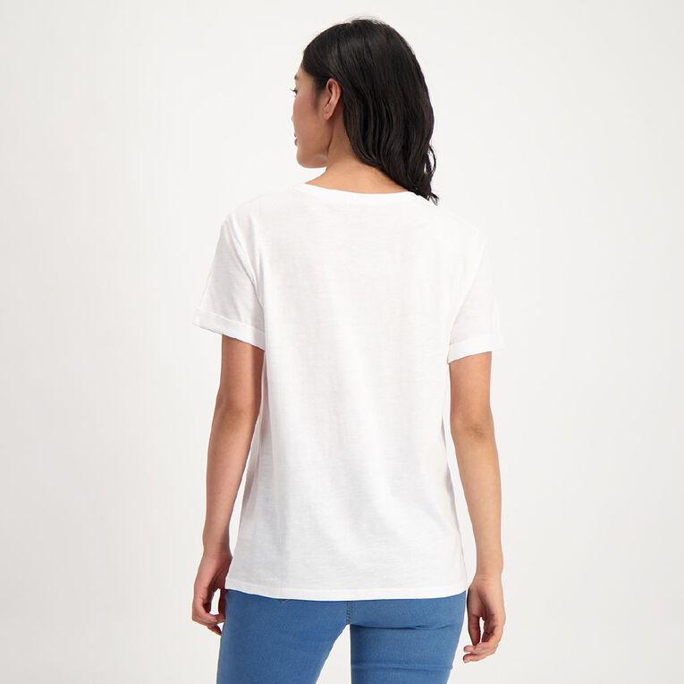 H&H Women's Oversized Roll Sleeve Tee, White, hi-res