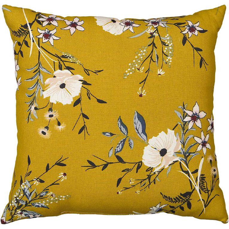 Living & Co Print Cushion Wildflower Yellow 43cm x 43cm, Yellow, hi-res