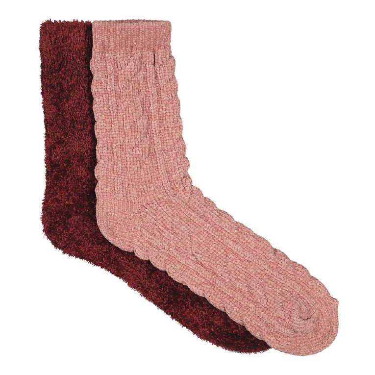 H&H Women's Bed Socks Chenille 2 Pack, Orange Dark, hi-res