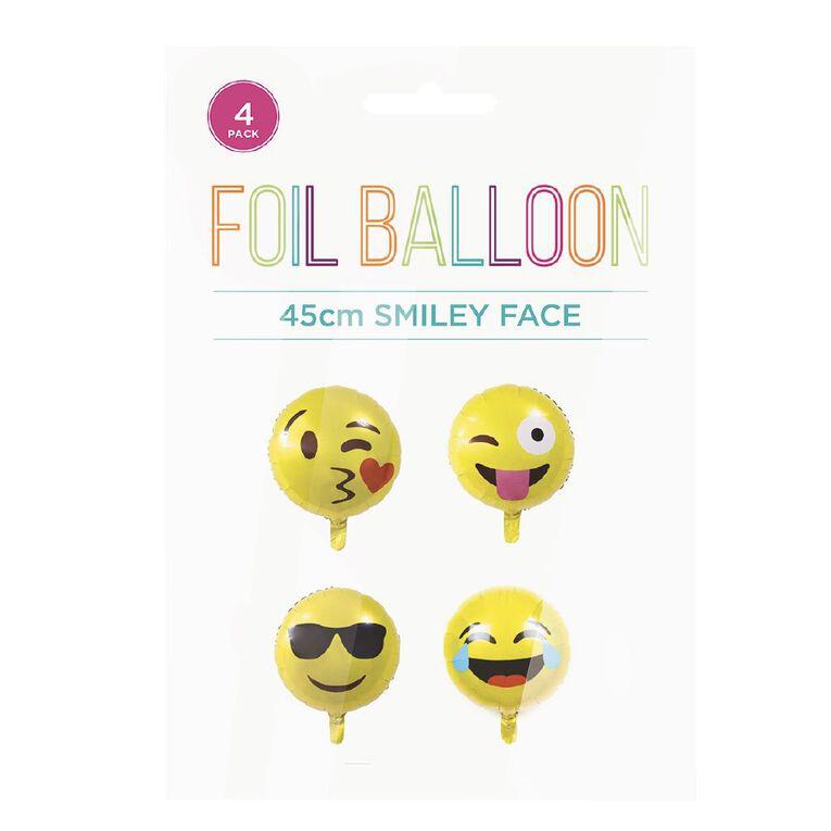 No Brand Emoji Foil Balloons 45cm Yellow 4 Pack, , hi-res