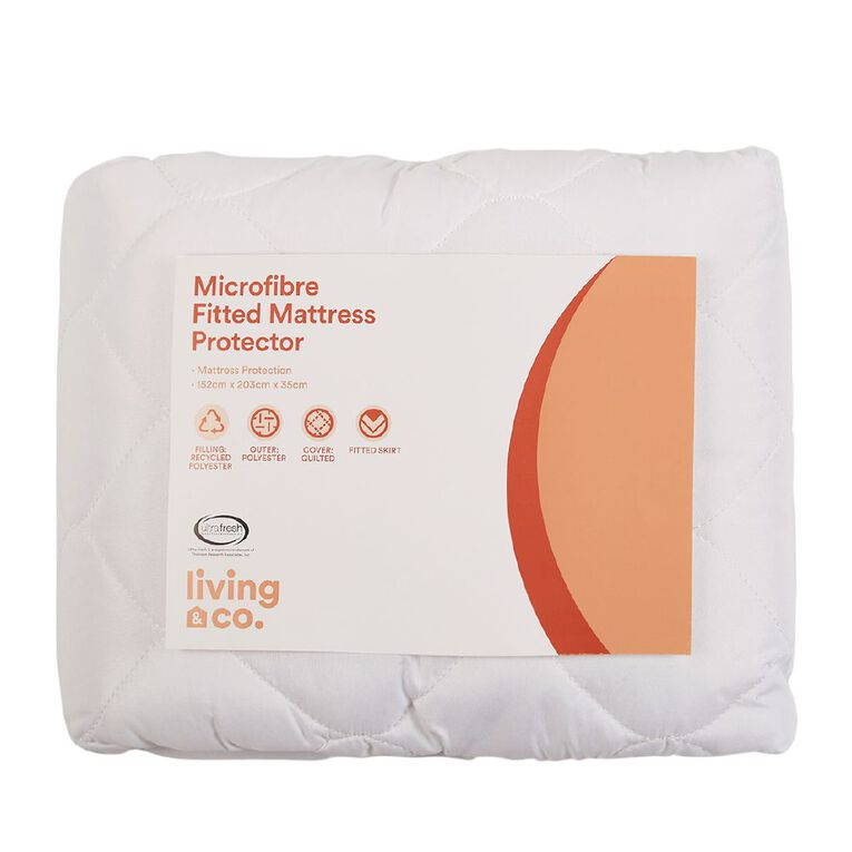 Living & Co Mattress Protector Microfibre Fitted White Single, White, hi-res