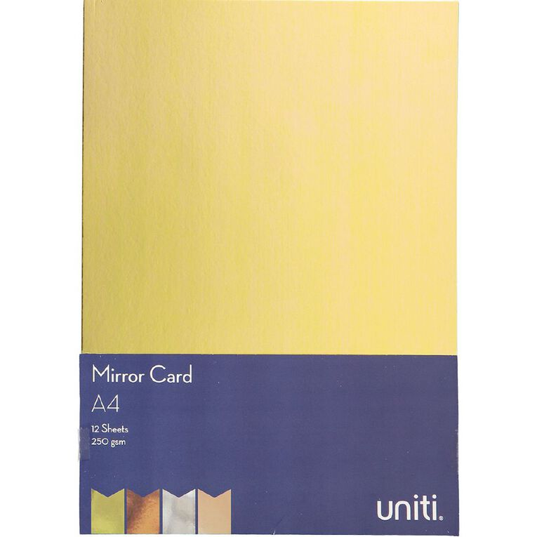 Uniti Value Cardstock Mirror 250gsm 12 Pack A4, , hi-res