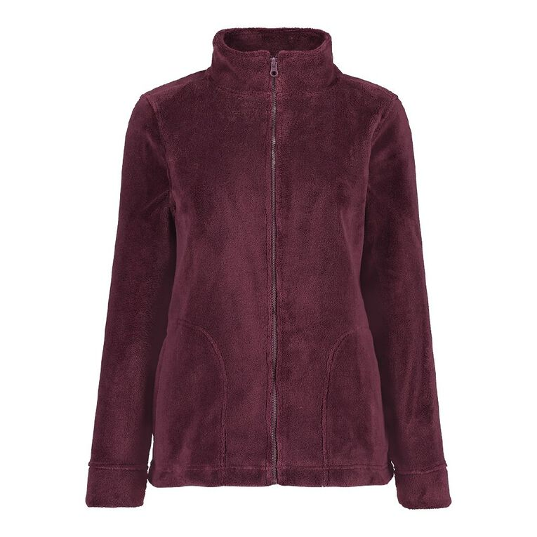 Pickaberry Women's Heavenly ZipThru Fleece, Purple Dark, hi-res