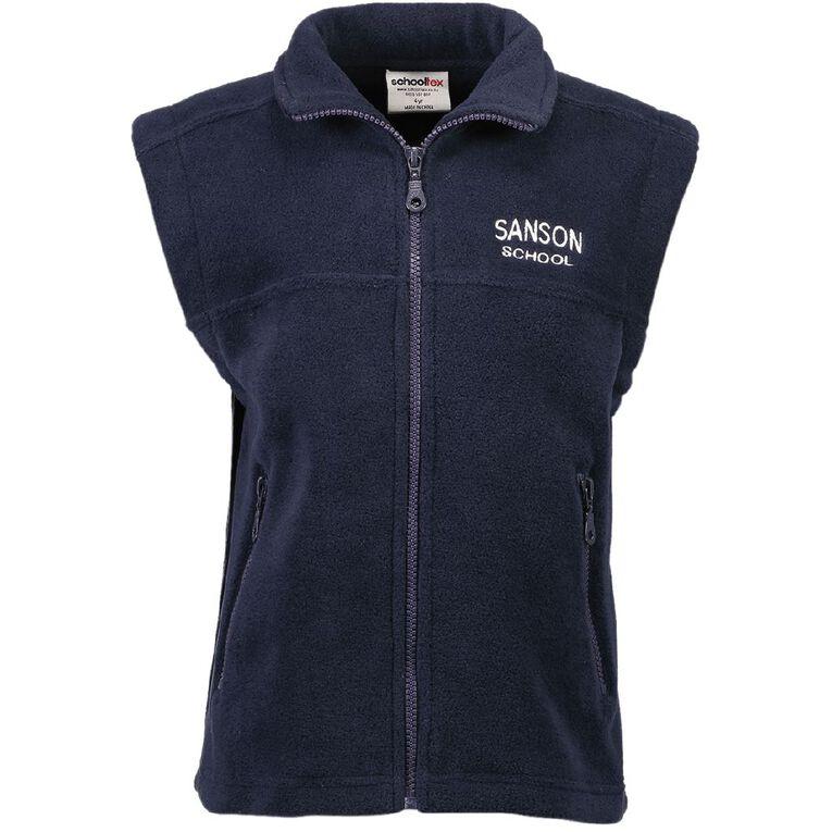 Schooltex Sanson Polar Fleece Vest with Embroidery, Navy, hi-res