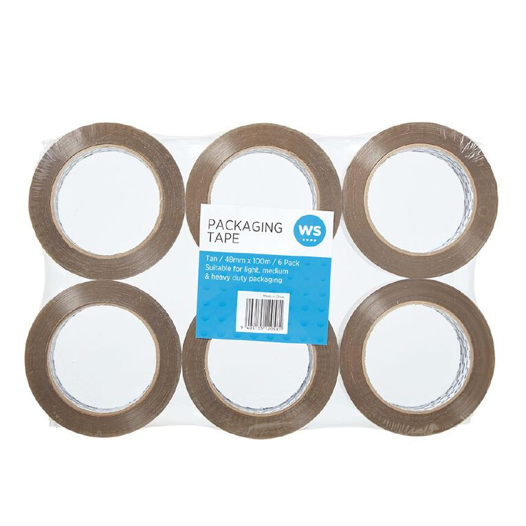 WS Packaging Tape PP Acrylic 48mm x 100m 6 Pack, , hi-res