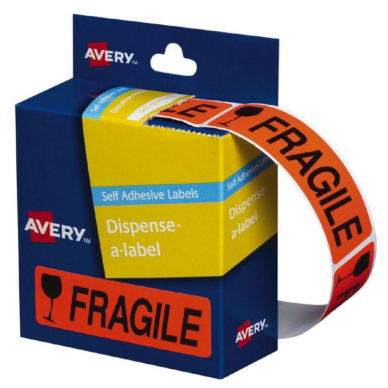 Avery Fragile Dispenser Labels 64x19mm 125 Labels, , hi-res