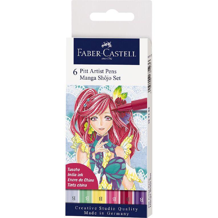 Faber-Castell Pitt Artists Pens Manga Shojo 6 Pack, , hi-res