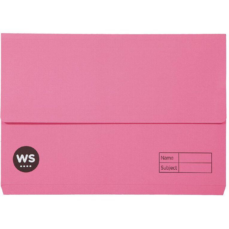 WS Manilla Document Wallet Foolscap Pink, , hi-res