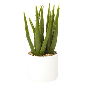 Living & Co Artificial Aloe Vera Plant 11x11x28cm White