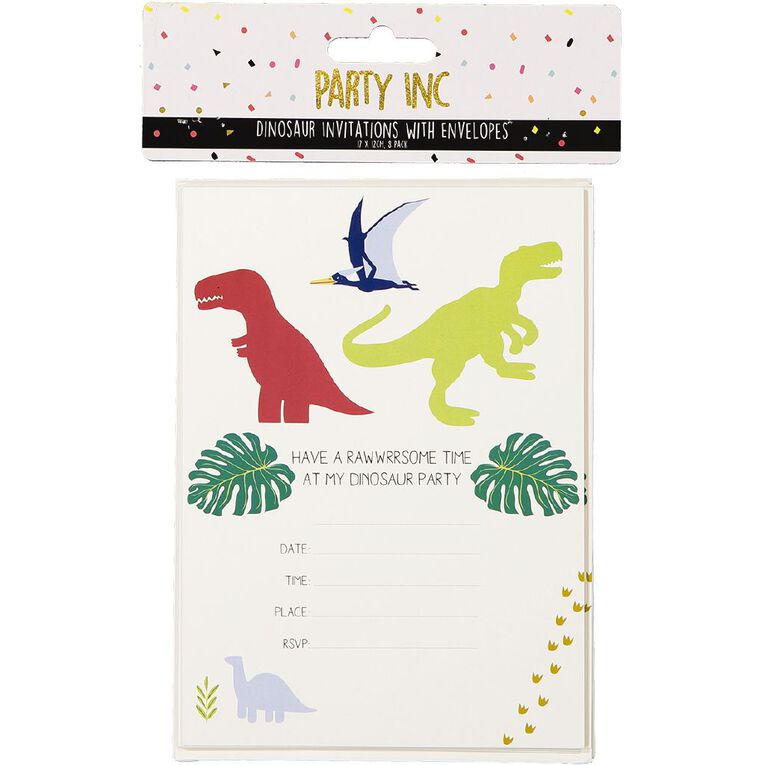 Party Inc Dinosaur Invitations with Envelopes 17cm x 12cm 8 Pack, , hi-res