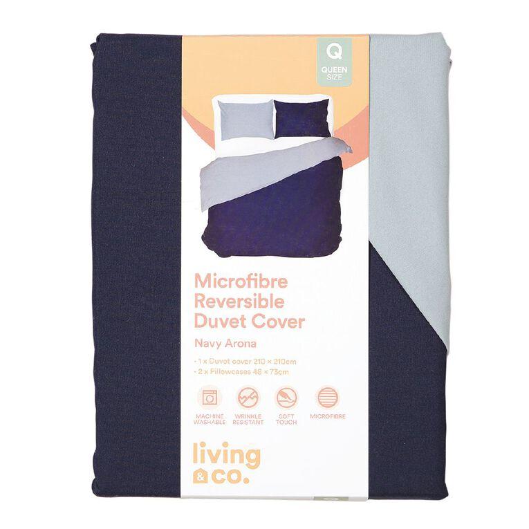 Living & Co Duvet Cover Set Microfibre Reversible Arona Navy King, Navy, hi-res