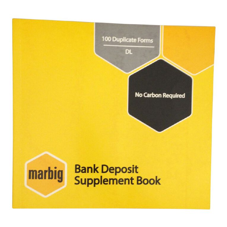 Marbig Bank Deposit Book Duplicate 100 Leaf Yellow, , hi-res