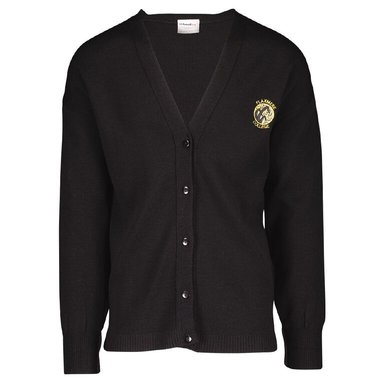 Schooltex Flaxmere College Long Cardigan with Embroidery, Black, hi-res