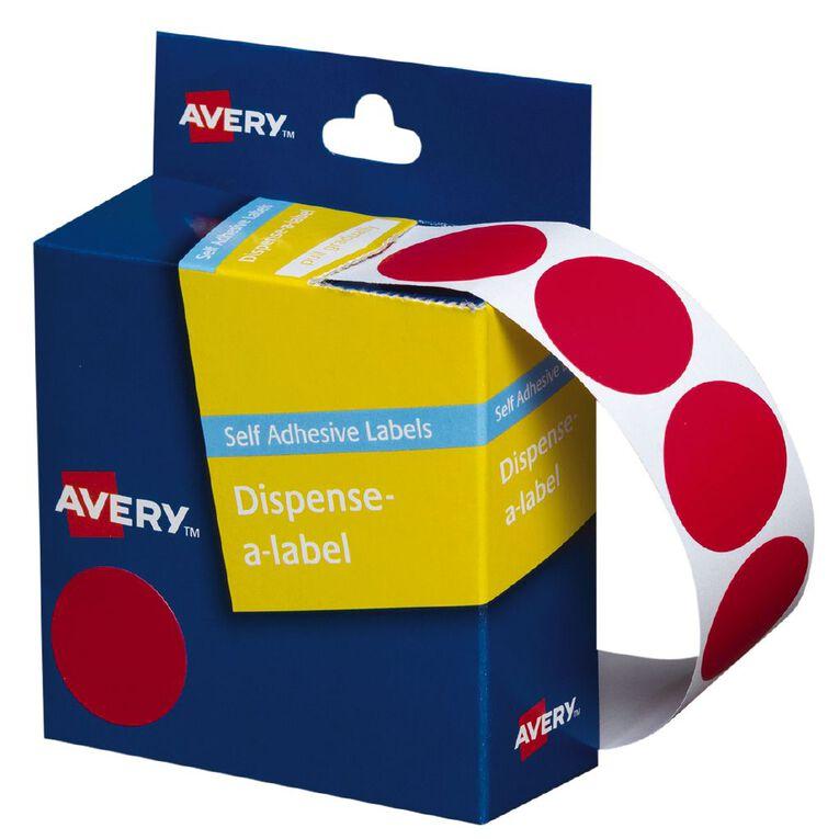 Avery Red Dispenser Dot Stickers 24mm diameter 500 Labels, , hi-res