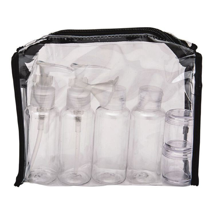 Necessities Brand Toiletry Bag with Bottles Clear, , hi-res