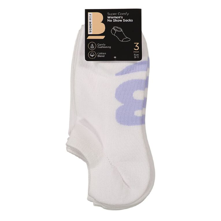 B FOR BONDS Women's No Show Cushioned Socks 3 Pack, White, hi-res