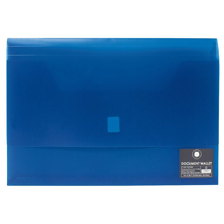 Office Supply Co Document Wallet Gusset/Velcro Closure Blue A4, , hi-res