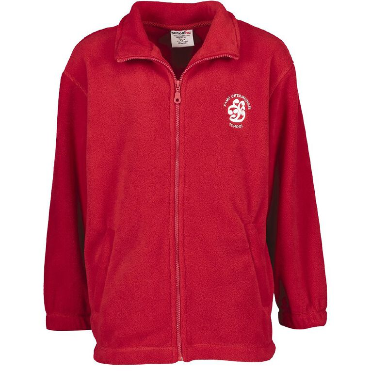 Schooltex Kamo Intermediate Polar Fleece Jacket with Embroidery, Red, hi-res