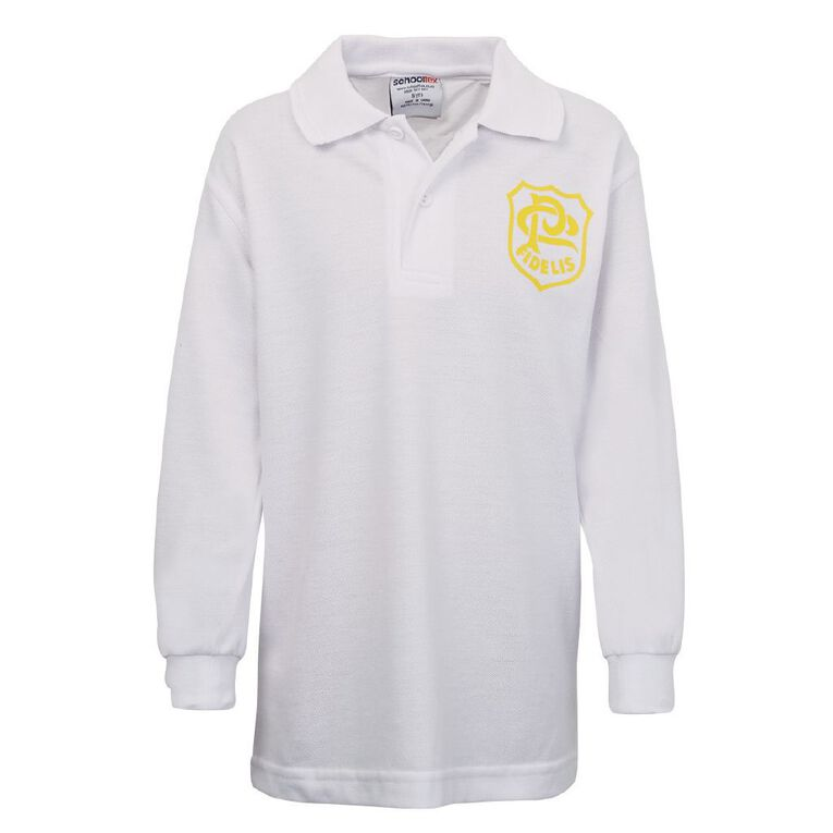 Schooltex St Patrick's Panmure Long Sleeve Polo with Screenprint, White, hi-res