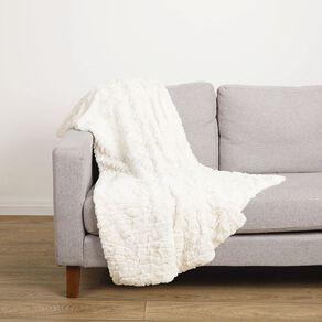 Living & Co Textured Faux Fur Throw Ivory 120cm x 140cm