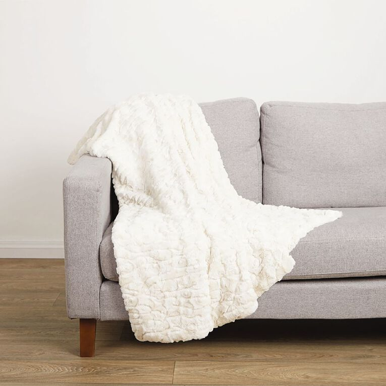 Living & Co Textured Faux Fur Throw Ivory 120cm x 140cm, Ivory, hi-res