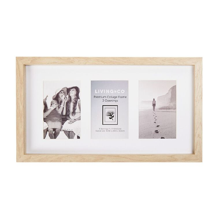 Living & Co Premium Collage Frame 3 Opening Natural 4in x 6in, Natural, hi-res