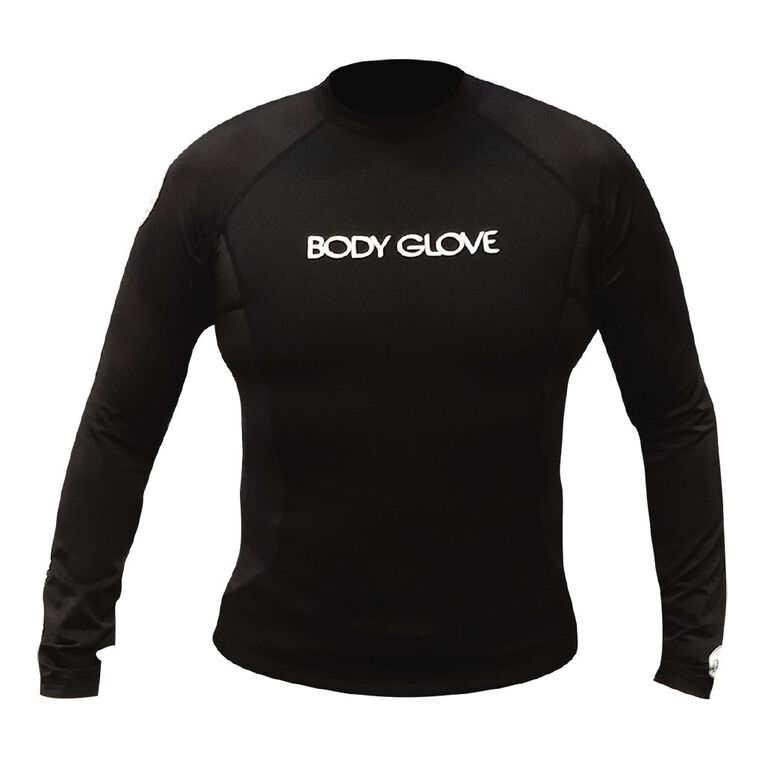 Body Glove Adults Long Sleeve Rash Top Black Medium, Black, hi-res