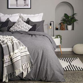 Living & Co Duvet Cover Set Brushed Cotton Marle Charcoal