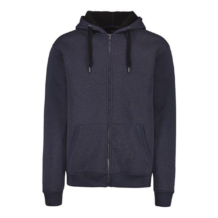 H&H Men's Sherpa Lined Zip-Thru Hooded Sweat, Navy, hi-res
