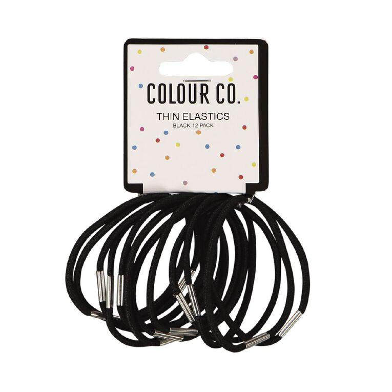 Colour Co. Hair Thin Elastics Black 12 Pack, , hi-res