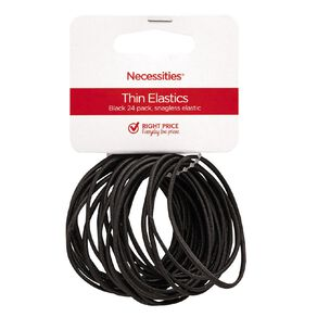 Colour Co. Thin Snagless Elastics Black 24 Pack
