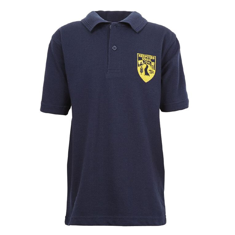 Schooltex Hampstead Short Sleeve Polo with Embroidery, Navy, hi-res
