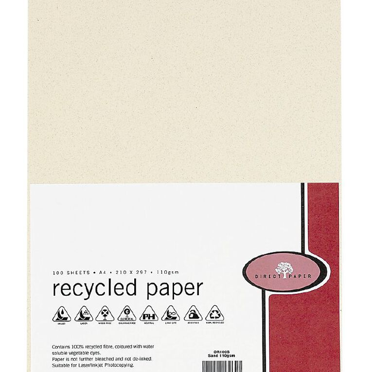 Direct Paper Recycled Paper 110gsm 100 Pack Sand A4, , hi-res